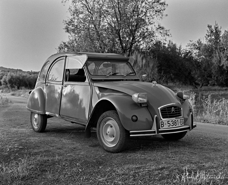 A general view of the Citroën 2CV. All photos are black and white, taken with a Mamiya RB67 film camera