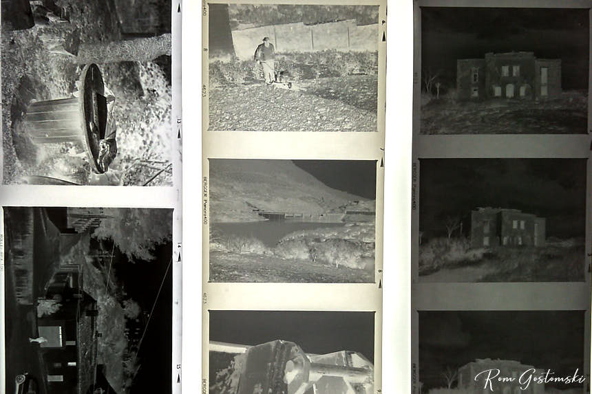 3 negative strips viewed on a lightbox: left strip is Rollei RPX 100; the other two are Bergger Pancro 400