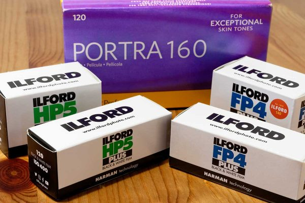 Boxes of film: Ilford HP5, Ilford FP4 and Kodak Porta 160
